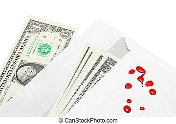 argent, enveloppe, et, blood.