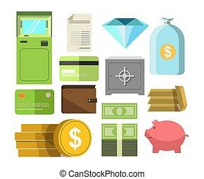 argent, espèces, autre, affiche, épargnants, précieux, blanc