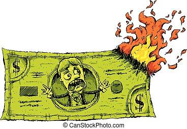 argent, espèces, brûlé