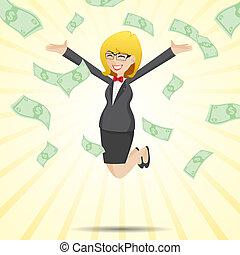 argent, espèces, sauter, femme affaires, dessin animé, heureux