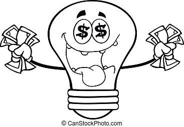 argent, esquissé, ampoule, lumière, aimer
