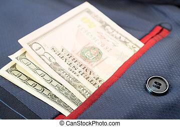argent, est, dans, les, interne, poche, de, manteau
