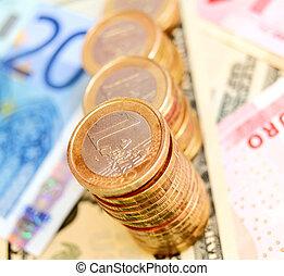 argent, (euro)., pièces, graphique