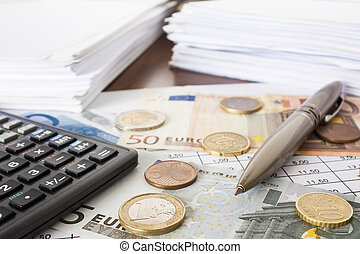 argent, factures, et, calculatrice