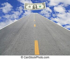 argent, faire, route