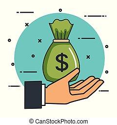 argent, faire, signe, sac, donation, main