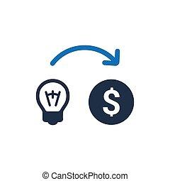 argent, faire, vecteur, idée, icon.