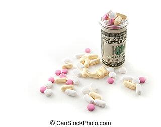argent, fait, pilules, bouteille