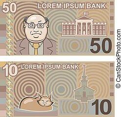 argent, faux, 50, 10