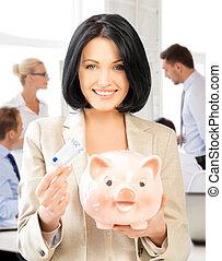 argent, femme, espèces, banque, porcin