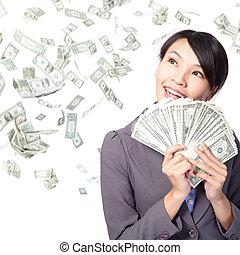 argent, femme, heureux, poignée, sourire