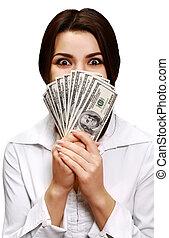 argent, femme, jeune, tenue, heureux