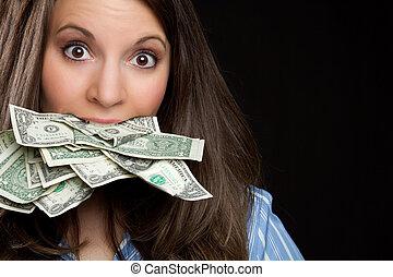 argent, femme mange