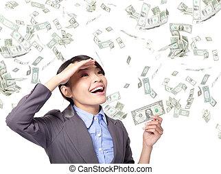 argent, femme, pluie, business, heureux