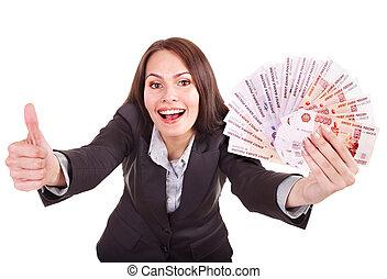 argent, femme, ruble., russe