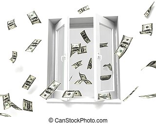 argent, fenêtre, dehors