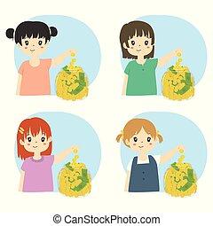 argent, filles, ensemble, vecteur, économie