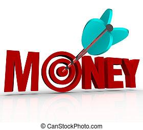 argent, flèche, dans, cible, centre, gagner, richesses, portée, but