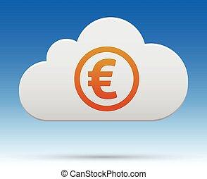 argent, fond, ombre légère, nuage, euro