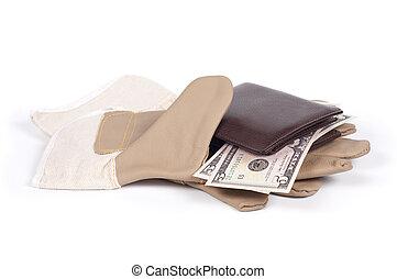 argent, gant, isolé, below., bourse, fond, blanc, ombre