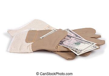 argent, gant, isolé, below., fond, blanc, ombre