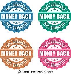 argent, garantie, dos, icône