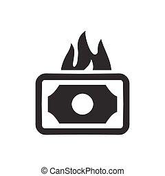 argent, gaspillage, icône