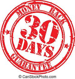 argent, grunge, 30, jours, garantie, dos