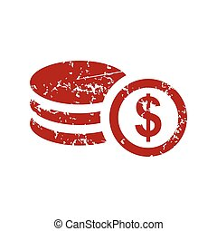 argent, grunge, rouges, logo