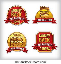 argent, guaranteed, dos, étiquette