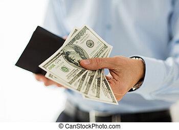 argent, haut, homme affaires, tenant mains, fin