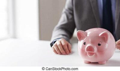 argent, haut, mettre, porcin, fin, banque, homme