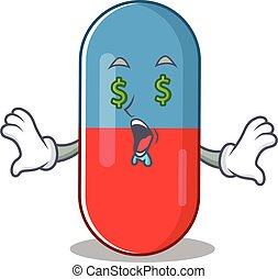 argent, heureux, dessin animé, yeux, pilules, drogue, concept, riche