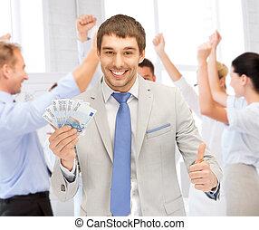 argent, heureux, espèces, bureau, homme affaires