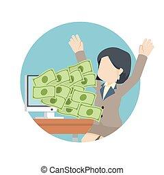 argent, heureux, femme affaires