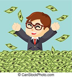 argent, heureux, mer, homme affaires