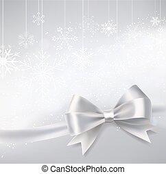 argent, hiver, fond, à, tomber, flocons neige, et, ruban, bow., vecteur, illustration