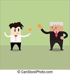 argent, homme affaires, échange, trading., idées