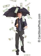 argent, homme affaires, came, pluie, sous
