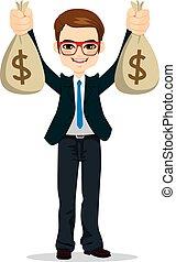 argent, homme affaires, dollar, tenue, sacs