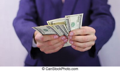 argent, homme affaires, hands., compte