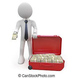 argent, homme affaires, lot
