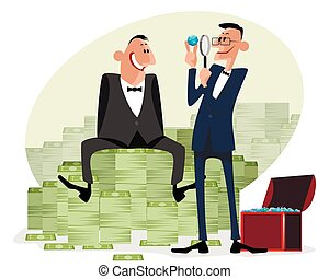 argent, hommes affaires, diamants