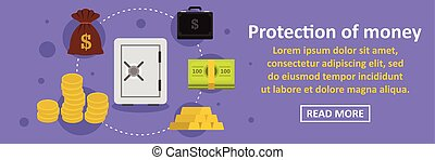 argent, horizontal, concept, bannière, protection