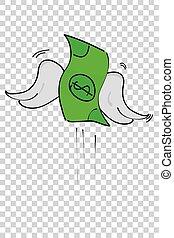 argent, illustration, effet, dollar, fond, transparent, perdu