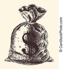 argent, illustration, sac, vecteur, vendange, gravé