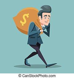 argent, illustration, vecteur, homme affaires, bag., dessin animé