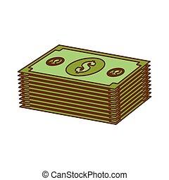 argent, image, espèces, apparenté, icônes