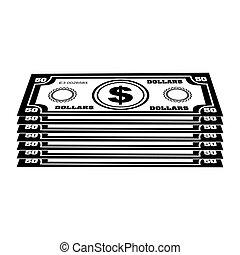 argent, image, espèces, icône