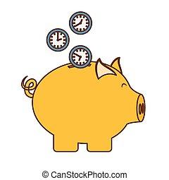 argent, image, tirelire, icône